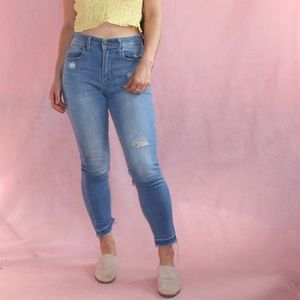 (245) Levi's High Waisted and Frayed Jeans